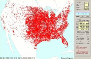 US Tornadoes 1950-2005 map