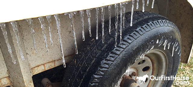 Ice buildup on trailer