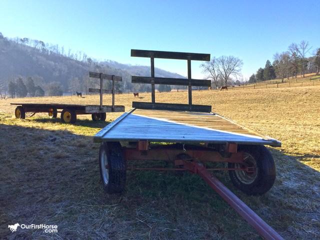 Frosty hay wagon