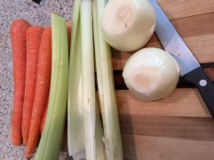 Use carrots, celery and onions to flavor your broth.
