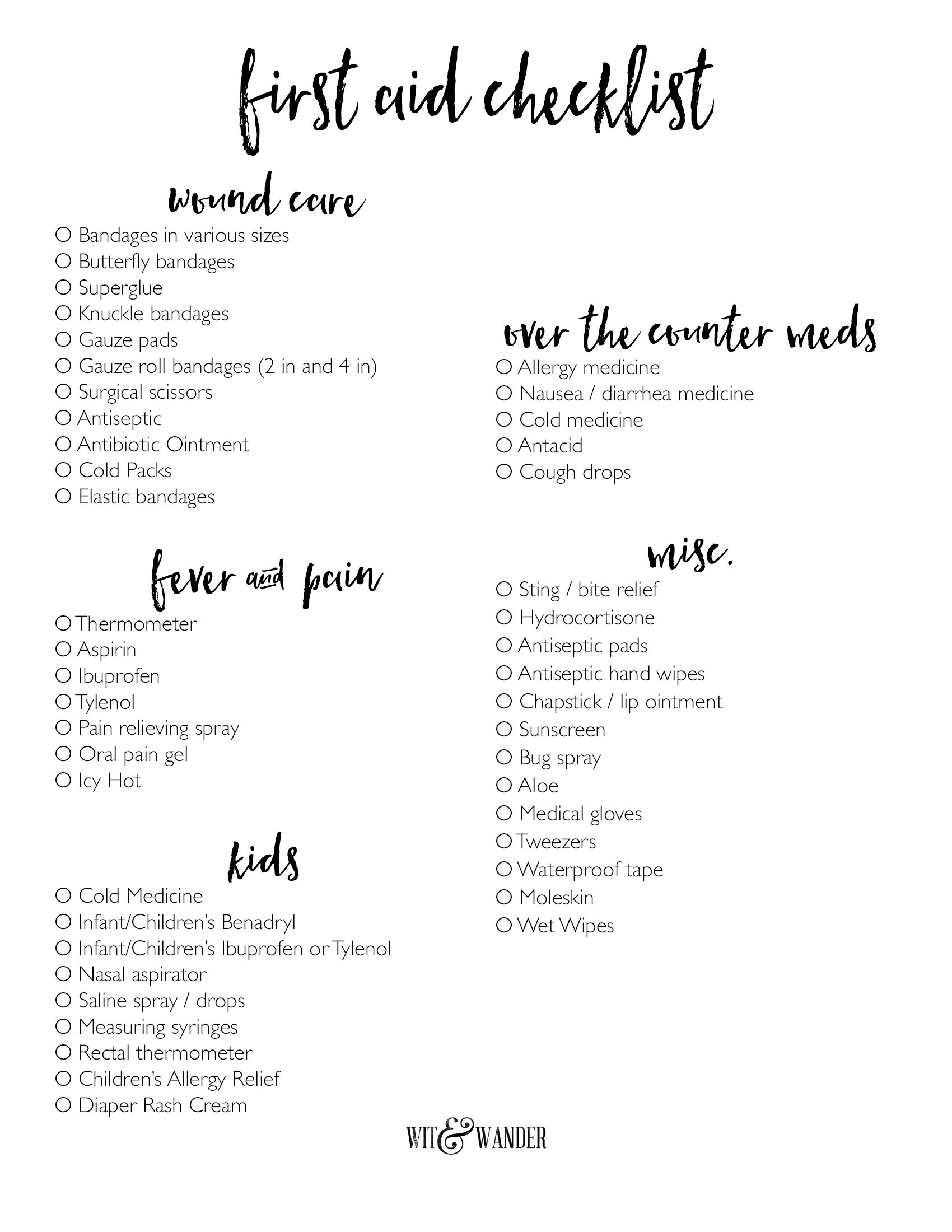 Free Printable First Aid Kit Checklist