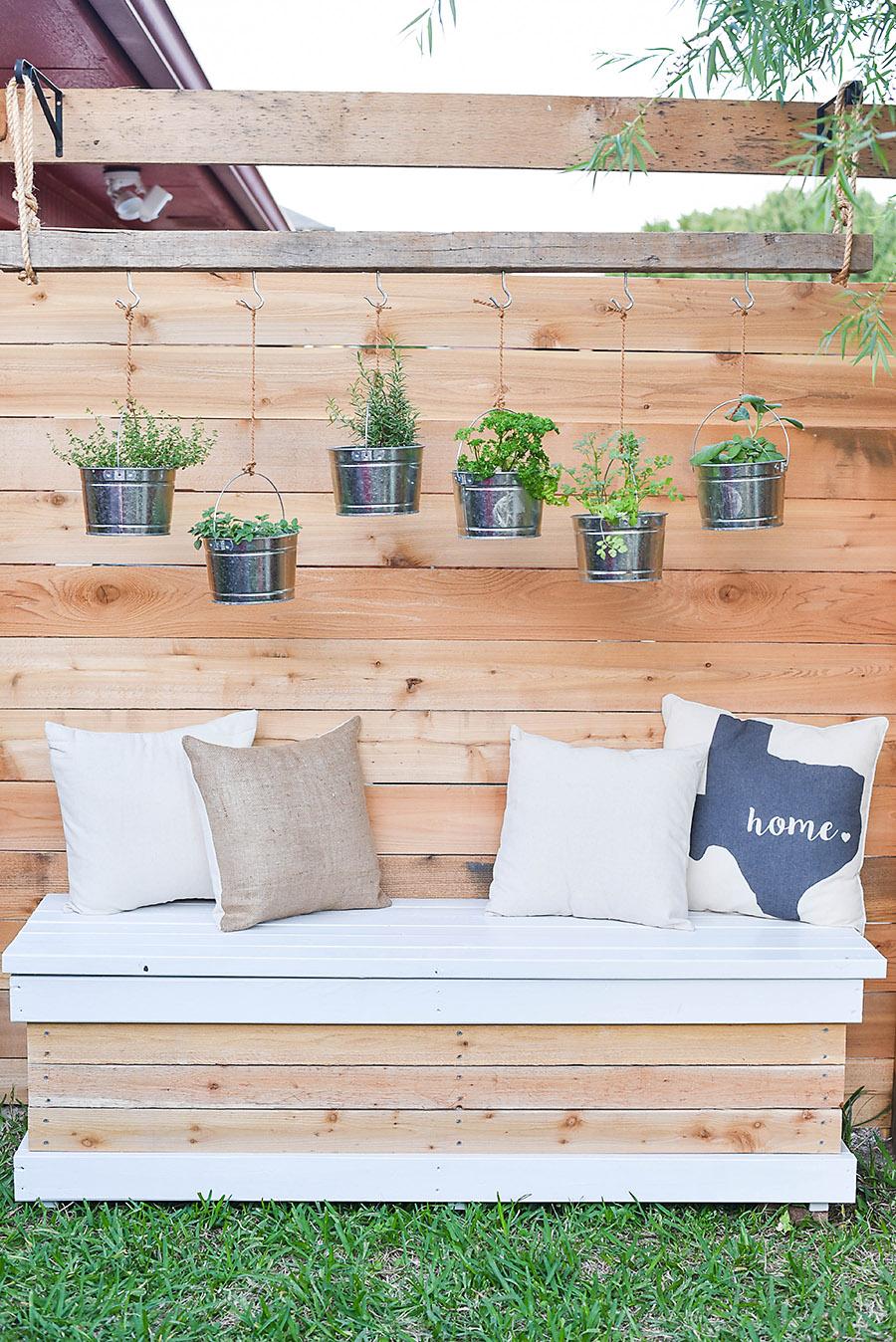 Outdoor Storage Bench - DIY Backyard Box with Hidden ... on Diy Garden Patio Ideas id=88375