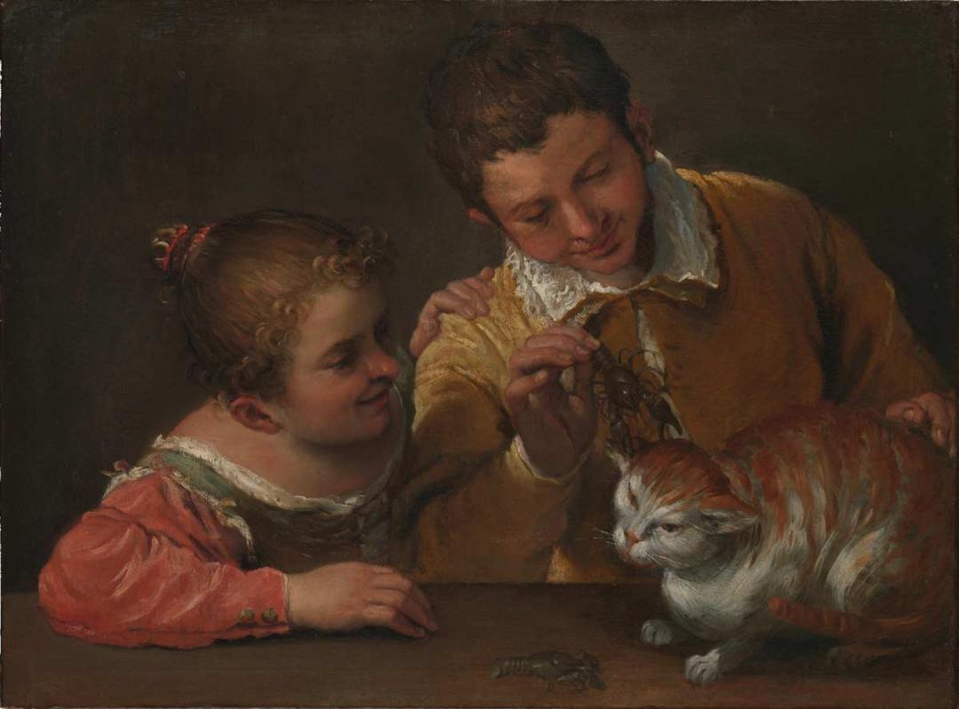Carracci's Two Children Teasing a Cat