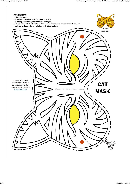 Halloween Cat Mask Template