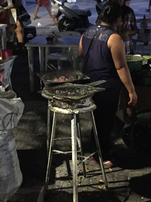 Always recycling, the grill is made from a wheel.