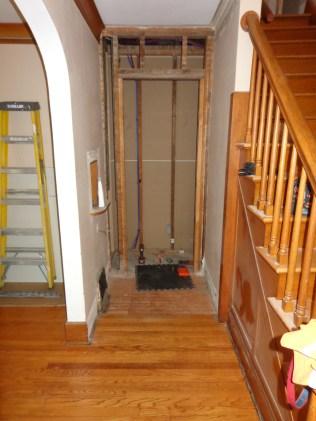 Original framing of door between kitchen and hallway