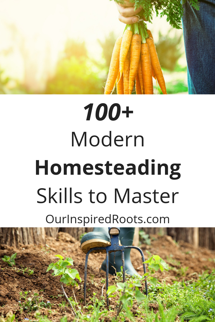 Modern homesteading can look many different ways. Here's a list of skills that can inspire you to reach your homesteading goals- give 'em a try!