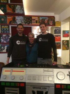 Tom, Marga and Gu at Groove City Records