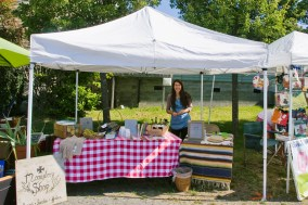 Selling monastery products at the Orcas Saturday Market