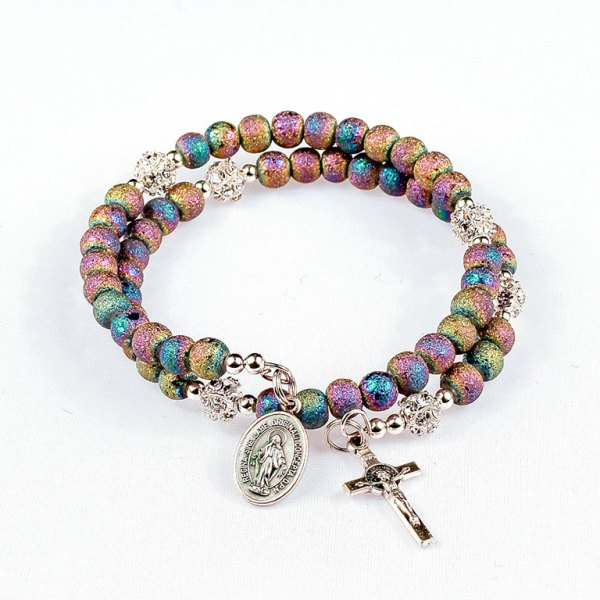 heavenly rainbow rosary beads bracelet