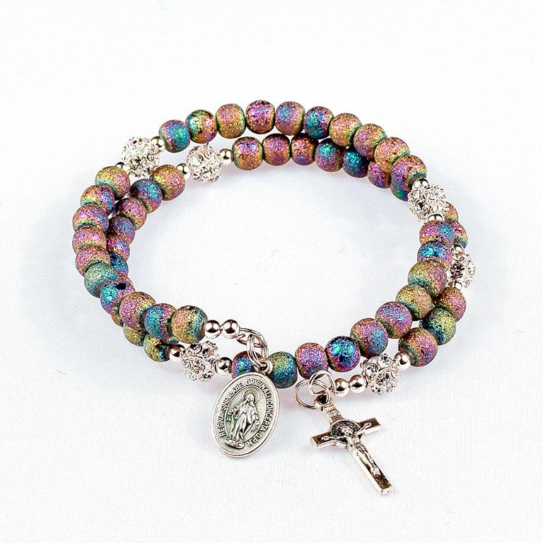 heavenly rainbow rosary beads bracelet