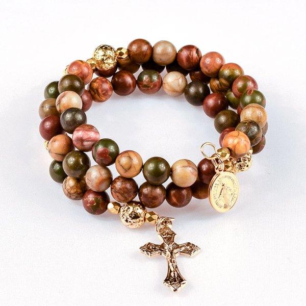 red creek jasper rosary beads bracelet