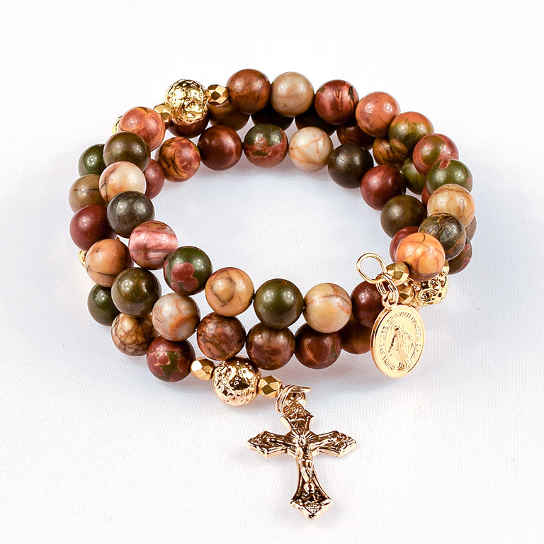 red creek jasper rosary beads bracelet
