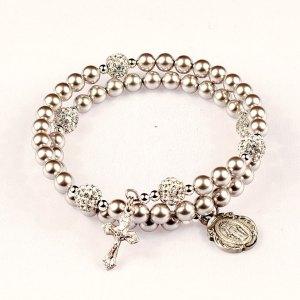 swarovski crystal pearl rosary beads bracelet