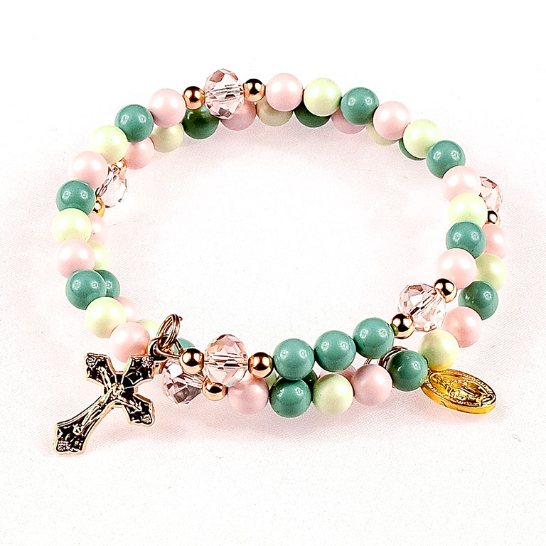 spring is coming pearl rosary bracelet