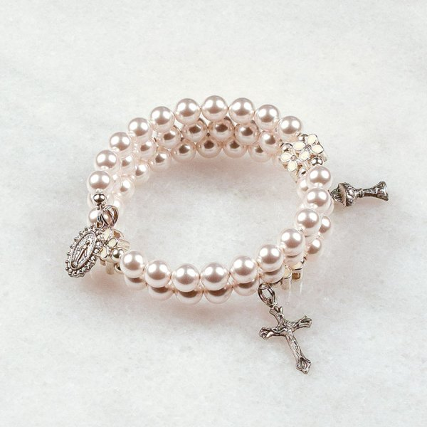 White Flower First Communion Rosary Bracelet