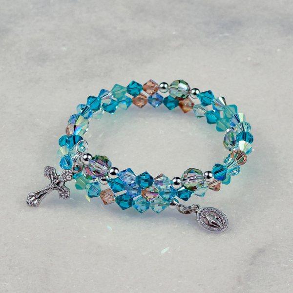 Caribbean Blue Rosary Bracelet