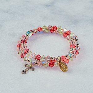 Coral Blush Rosary Bracelet