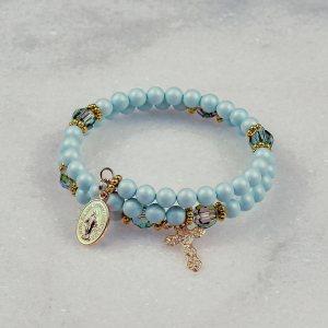 Pastel Blue Pearls Rosary Bracelet