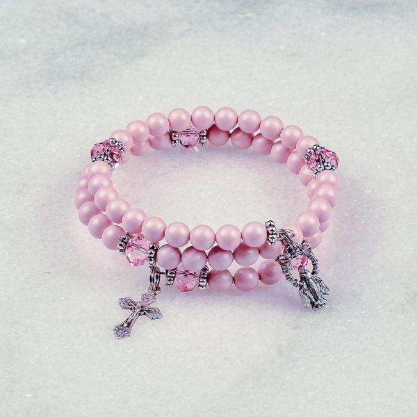 Pastel Pink Pearls Rosary Bracelet