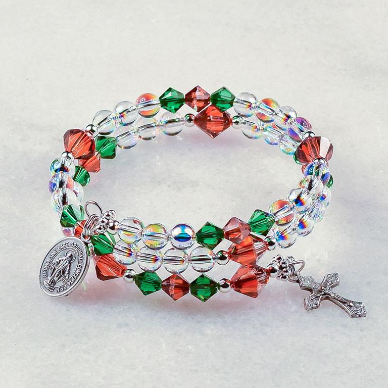 Christmas Holly Berry Rosary Bracelet