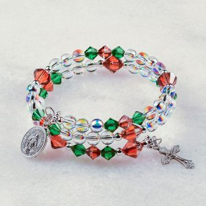 Christmas Holly Berry Rosary Bracelet