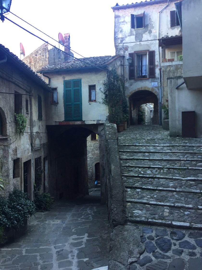 Maze of streets in Sorano Italy