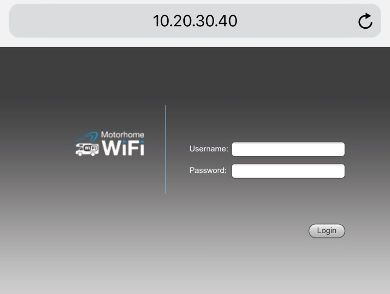 Motorhome WiFi router login page