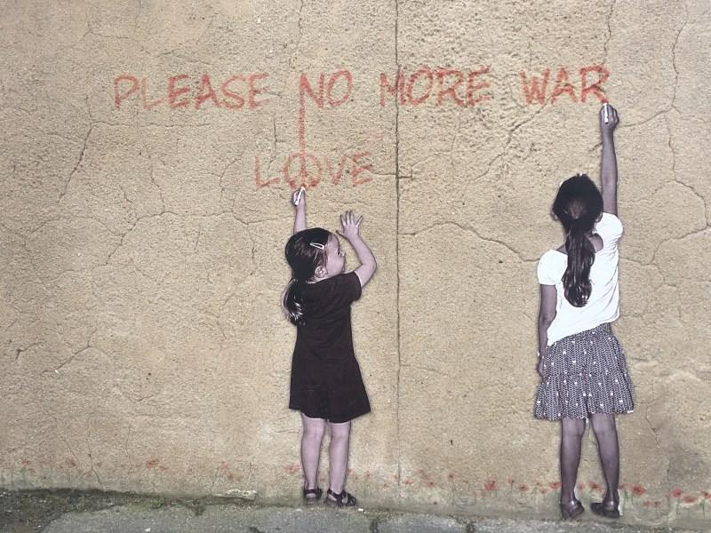 Arromanches-les-Bains by motorhome, our leap of faith visits gold beach - make love not war artwork