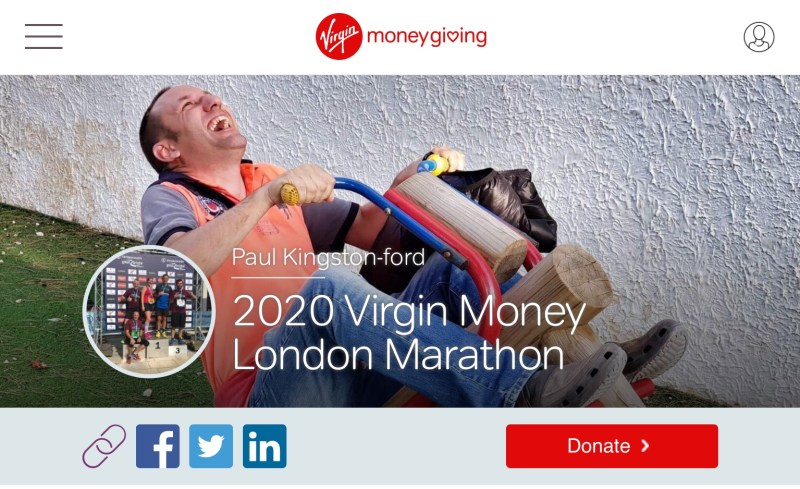 Paul  kingston Ford - our leap of faith very own paul is running the London Marathon  in aid of the orchard  Vale aTrust  please donate through the  VirginGiving Page