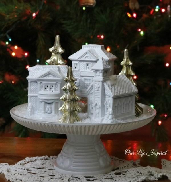 Cake Plate Winter Village DIY