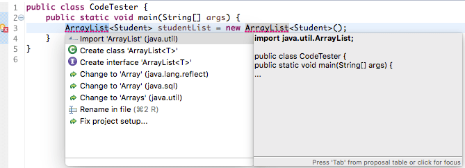 Java Eclipse Error Suggestions