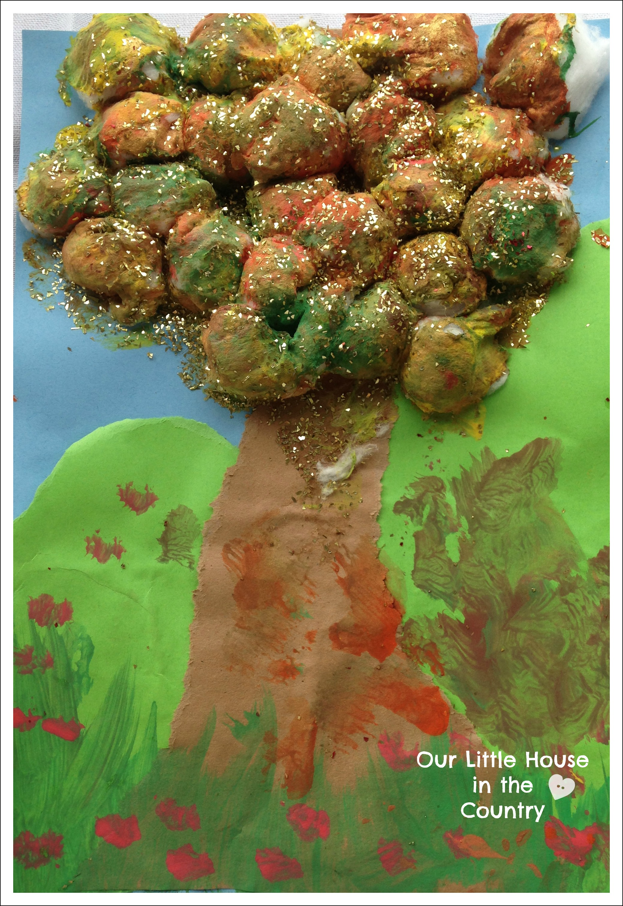 Cotton Wool Autumn Trees Fall Art Activities For Kids