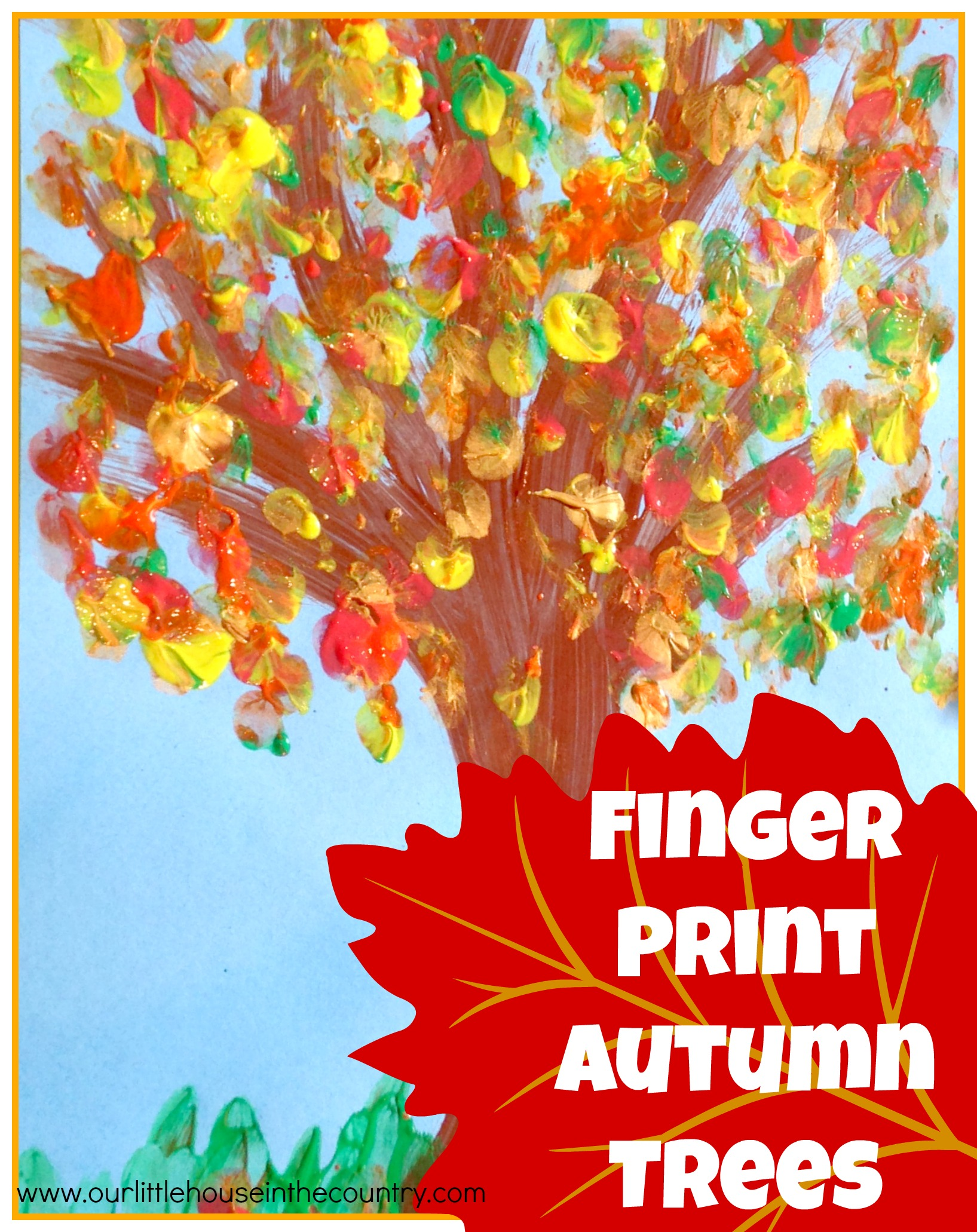 Finger Print Autumn Trees Fall Art Activities For Kids