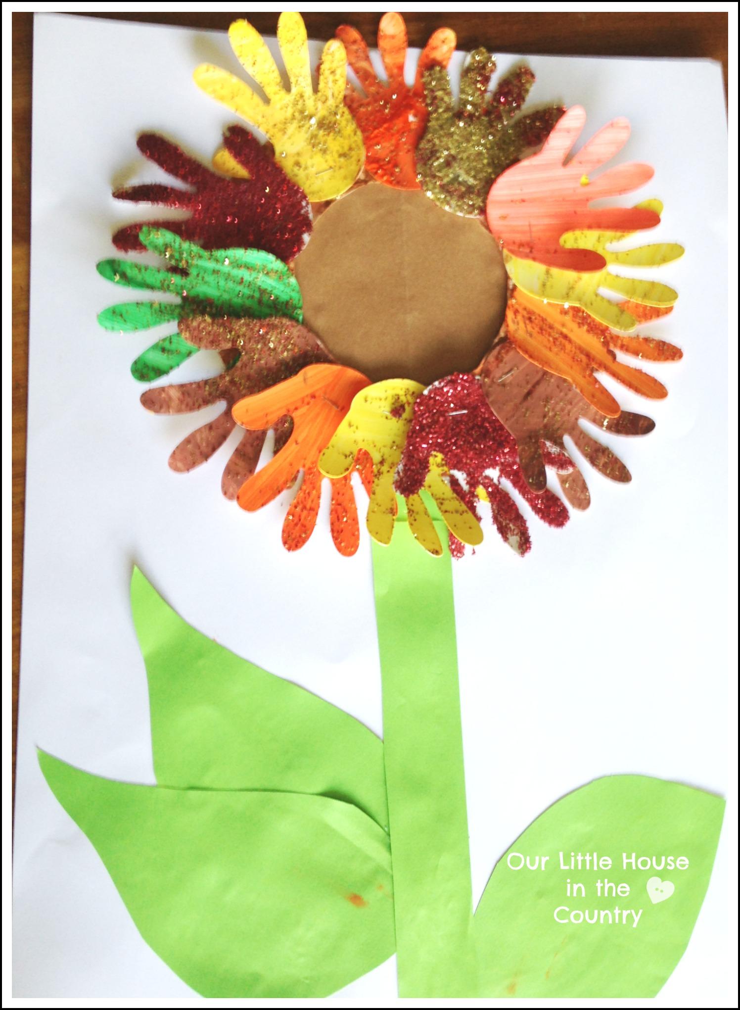 Sunflower Handprint Art 2 Autumn Fall Art Activities For
