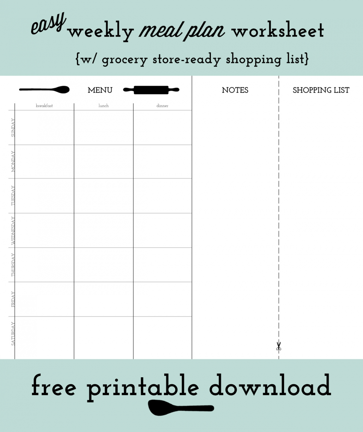Weekly Meal Planning With Free Printable Worksheet Our Little Igloo