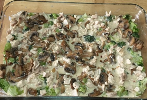 add-mixture-to-dish-chicken-broccoli-bake
