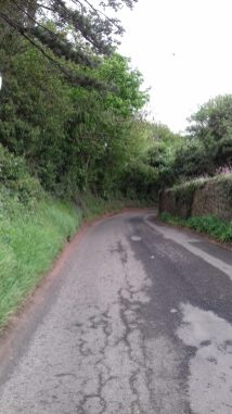 Blind corner on road from Spott to Dunbar