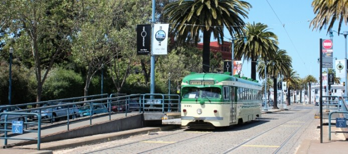 The streetcars or trams used on line F have been purchased from other cities around the world