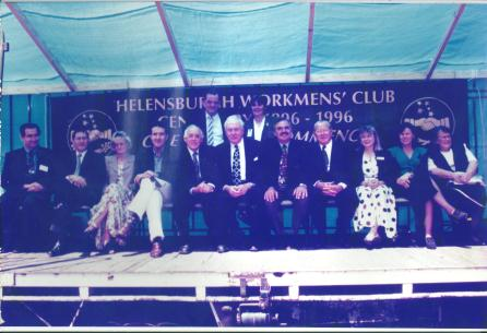 Helensburgh Workers Centenary 1996-1 - Wwollongong City Councillor Kerrie Christianis 3rd from right in front row - 3 along from Gough Whitlam