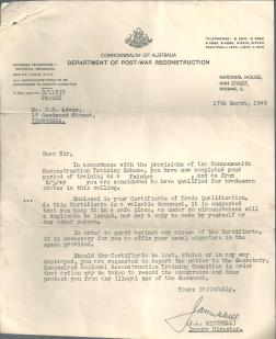 Ross -Trades Painter Letter Post WWII Reconstruction 1949
