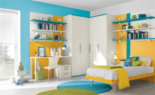 yellow-blue-and-orange-bedroom-decoration-using-yellow-kid-bed-frame-including-mount-wall-blue-bedroom-shelving-and-light-blue-bedr
