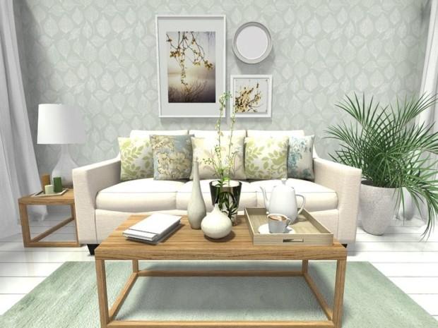 RoomSketcher-Spring-Decorating-Ideas-Living-Room-Design-Leaf-Print-Wallpaper-Home-Decor