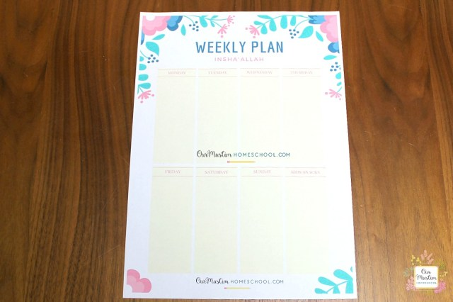 Ramadan Meal Planner Weekly spread