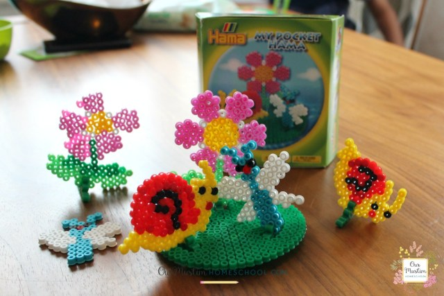Hama beads homeschool snail craft