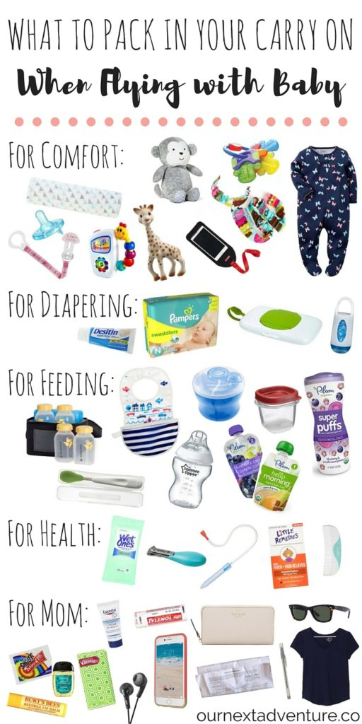 Flying with Baby: What to pack in your carry on bag when traveling with a baby // family travel | airplane bag | baby gear | flying with kids