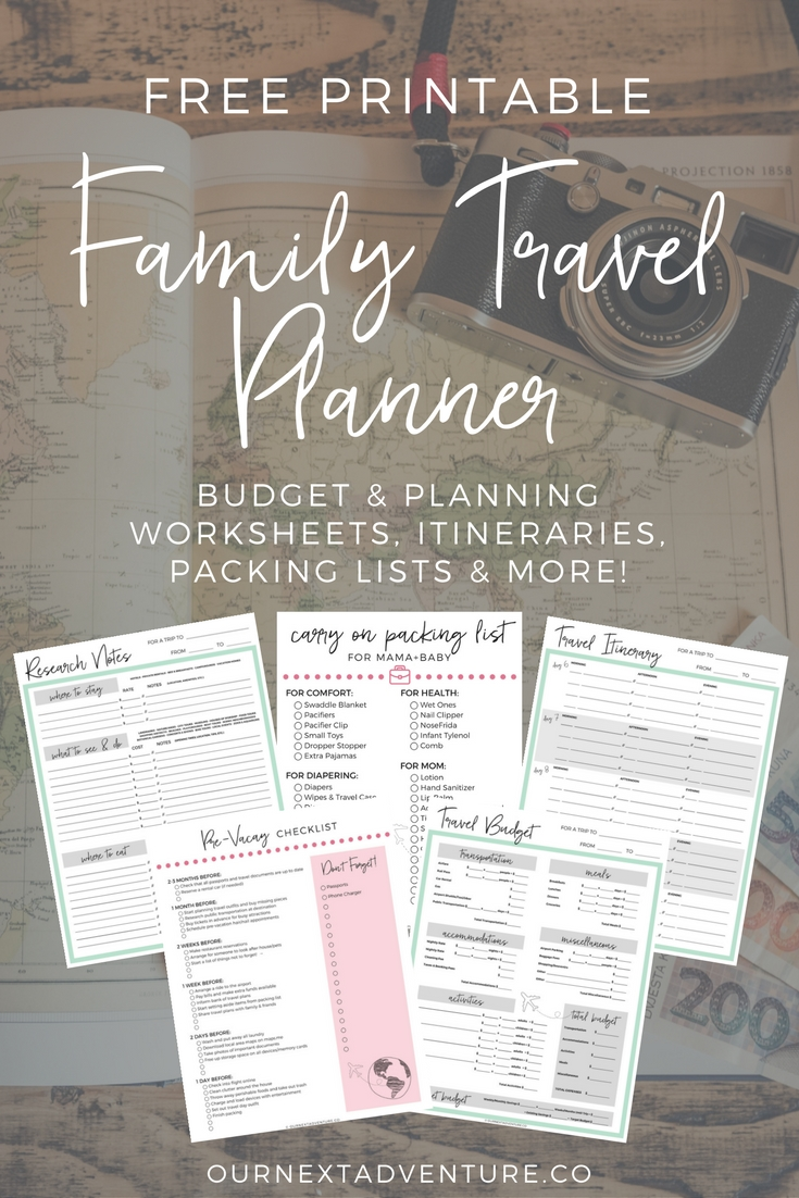 8 steps to planning the perfect family trip + free printable family travel planner. #familytravel #traveltips // Family Travel   Travel with Kids   Vacation Ideas   Free Printables   Packing List   Travel Budget   Vacation Checklist   Trip Research   Itinerary   Free Vacation Planner   What to Pack