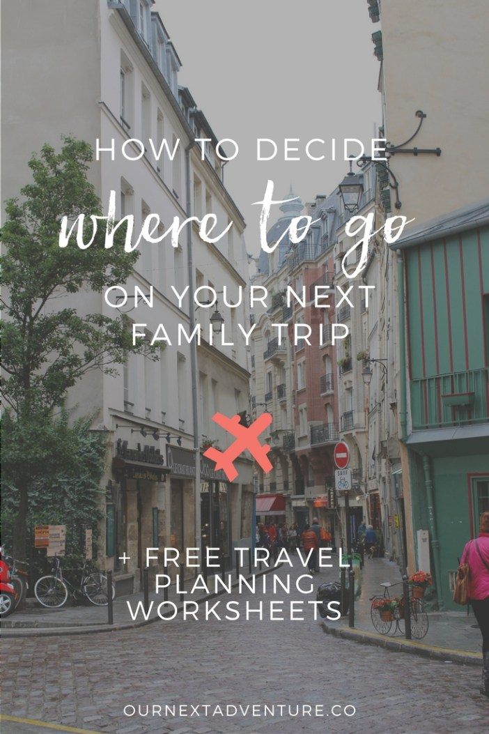 Tips for deciding where to go on a family trip + free printable family travel planner. #familytravel #traveltips // Family Travel | Travel with Kids | Vacation Ideas | Where to Go | Kid-Friendly Trips | Family-Friendly Destinations | Free Printables | Packing List | Travel Budget | Vacation Checklist | Itinerary | Free Vacation Planner | Best Cities for Families | Best Countries for Families
