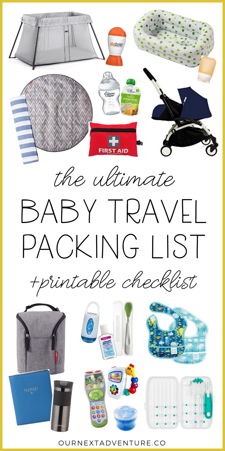 Traveling with a baby? Read our ultimate baby travel packing list with all the essentials you might possibly need (+a free printable checklist!) #babytravel #packinglist #printable #familytravel // First Trip with Baby | Flying with a Baby | What to Pack for Baby | Baby Travel Checklist | Baby Travel Gear | Baby Travel Essentials | Flying with Baby Tips | Vacation Packing List | Infant Travel | Printable Baby Packing List