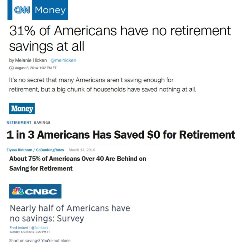 OurNextLife.com // The Retirement Lie // Media coverage of retirement savings focus on how normal it is not to have enough saved, rather than characterizing it as a catastrophe.